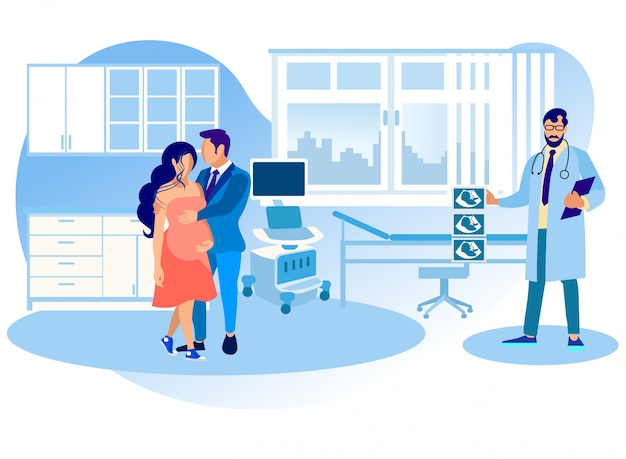 妊娠中の女性は腹部超音波検査のために病院を訪問します