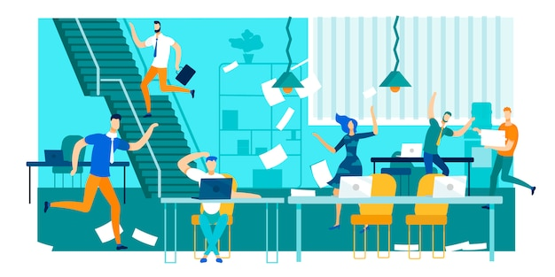仕事ラッシュ、オフィスの混乱、忙しい、神経質な労働者