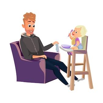 Ребенок с ложкой сидеть в стульчике для кормления отца
