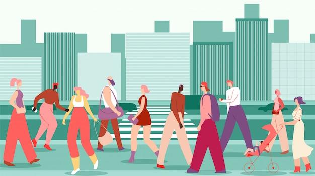 平らな男性と女性が大都市通りを歩きます。