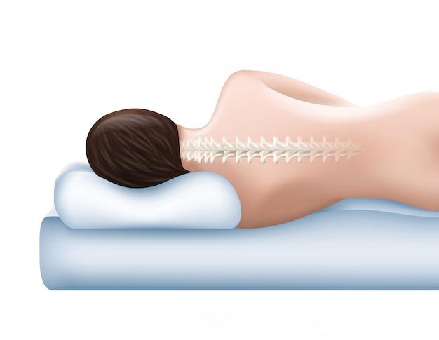 Поверхность хлопка. ортопедическая подушка. здоровый сон. женщина с даже позвоночника, лежа на подушке. спи на подушке.
