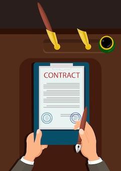 Официальная декларация подписать векторные иллюстрации