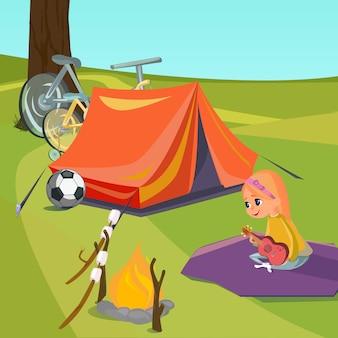 Летний лагерь вуд маленькая девочка играет гавайская гитара