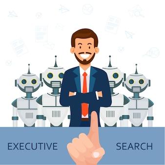 Человек в костюме на фоне роботов. исполнительный поиск
