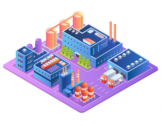 工場、燃料産業、製油所プラントビル