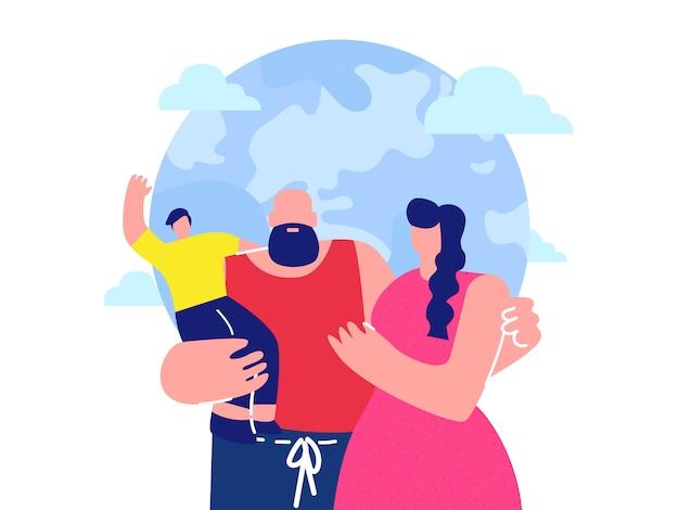 Счастливые родители с ребенком плоской векторной иллюстрации