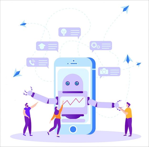 遠隔学習のためのスマートフォン上のプログラムボット。