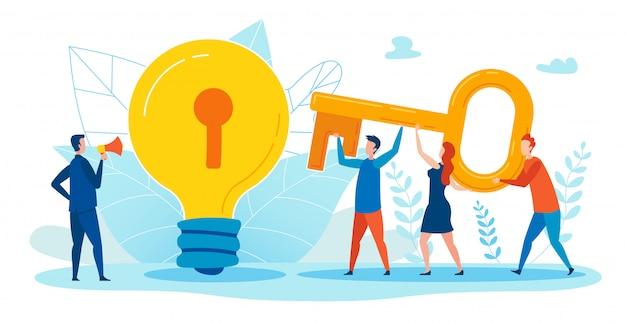 アイデアへの巨大な鍵を持つ労働者のやる気を起こさせるイラスト。
