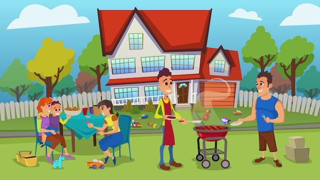 幸せな若い家族が庭で屋外レジャーをしている図