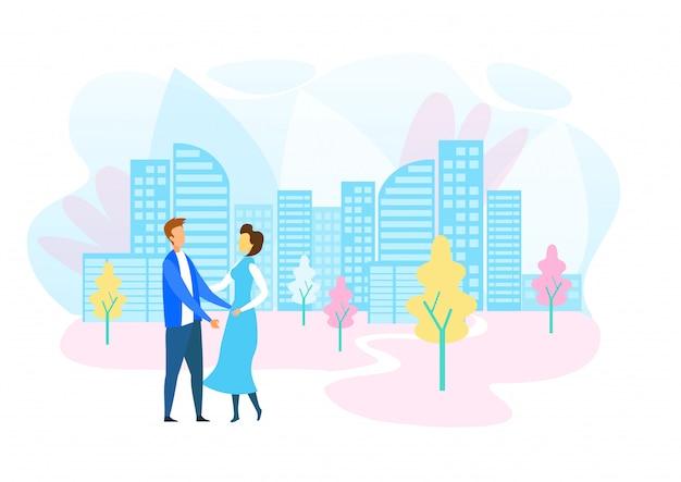 Мужчина и женщина гуляют в современном экологически чистом городе