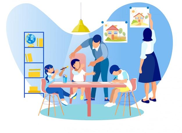 幼稚園のテーブルに座っている子供たちを描く