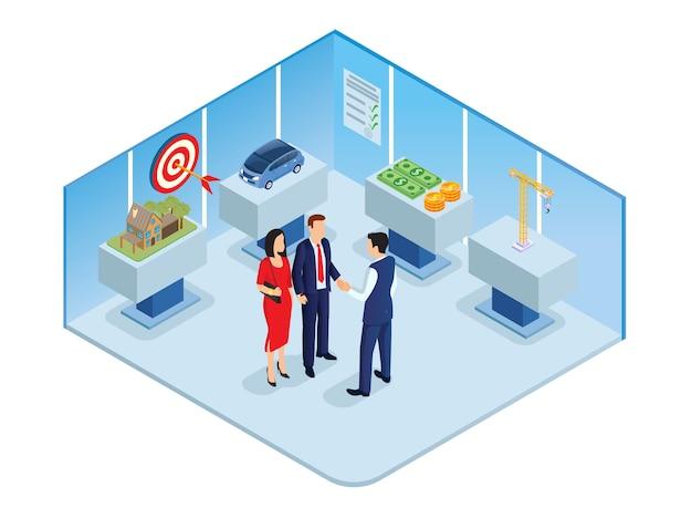 不動産の賃貸または購入のための事務所。