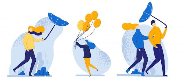 セットの人々のイラスト風の強い天気漫画で歩きます。