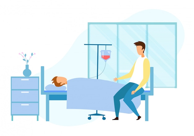 Посетитель рядом с тяжело больным пациентом без сознания