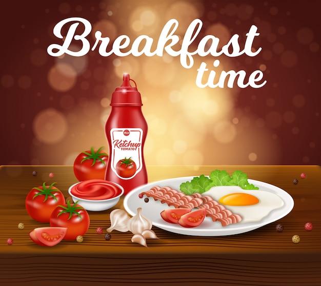 朝食時間、スクラブルエッグ、ベーコン、ケチャップ