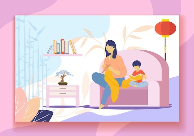 中国の母編み物、本を読んでいる息子