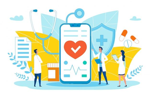 オンライン医療アプリケーション漫画フラット。