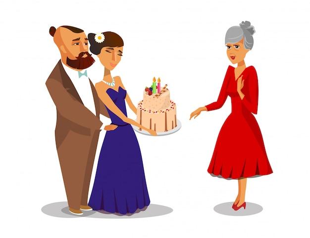 女の子はケーキを与える