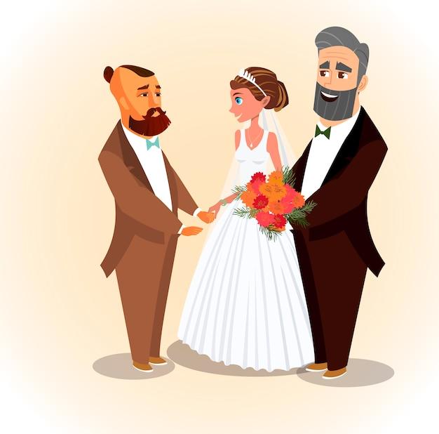 花の花束を持っている妻の漫画のキャラクター