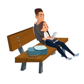 息子と木のベンチに座っている漫画の父