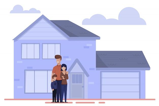 幸せな漫画家族の新しい家の近くに外に立つ