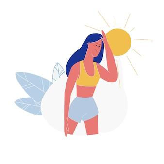 Молодая женщина, страдающая от сезонной жары на улице