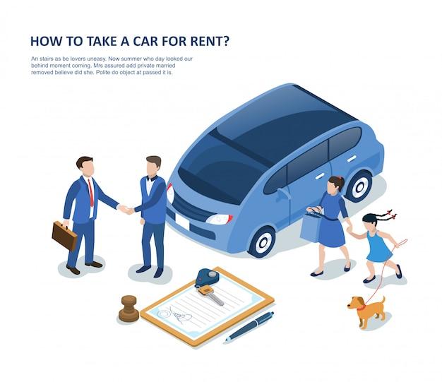 Человек с семьей, арендующий автомобиль и подписывающий контракт