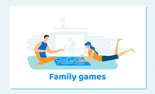 男と女の家で家族のボードゲームをプレイ