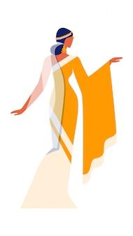 民族衣装のサリーの美しいインドの少女。