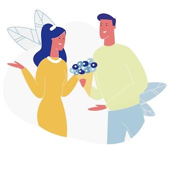 花束を取ってデートガールを持っている若いカップル