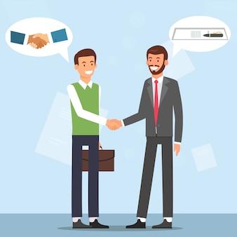 Рукопожатие двух улыбающихся бизнесменов. заключить договор