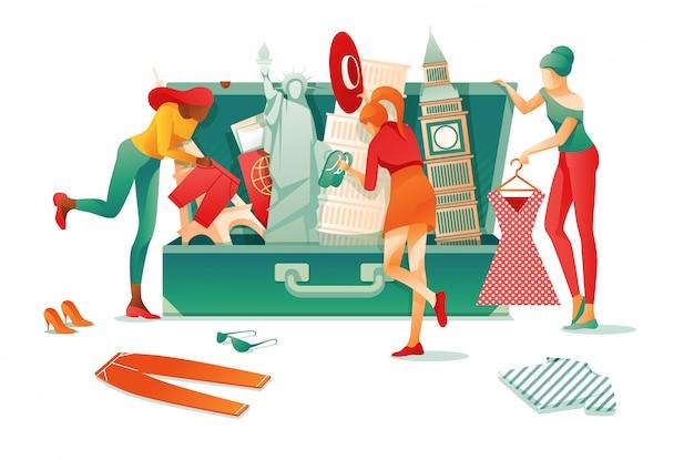 Открытый чемодан достопримечательности известных мировых достопримечательностей
