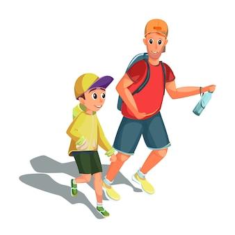 家族のスポーツ活動を実行している漫画男の少年