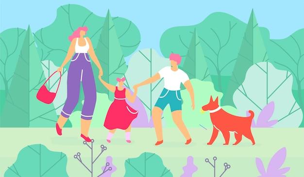 息子と娘の森を歩く犬を持つ母