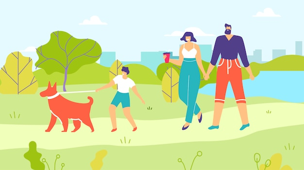 Родители и сын гуляют с собаками в городском парке мультфильмов