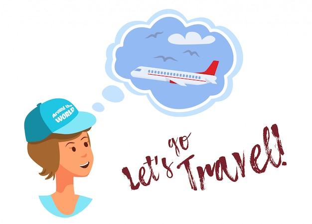 Вектор плоский баннер позволяет путешествовать по всему миру.