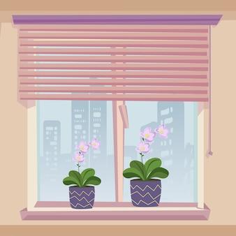 窓辺の装飾植木鉢ブルームピンクの花