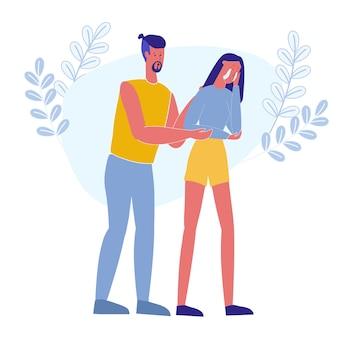 男抱き締める泣いている女の子フラットベクトルイラスト