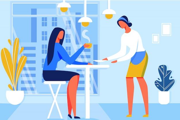 レストランでホットコーヒーや紅茶を飲む女性。