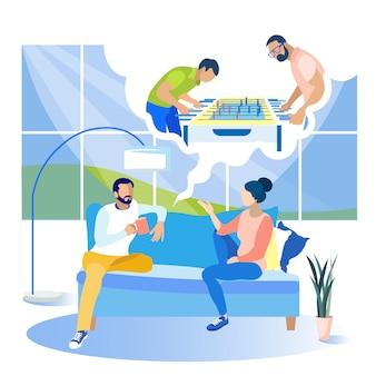 女性とテーブルサッカーをして夢の近くの男。