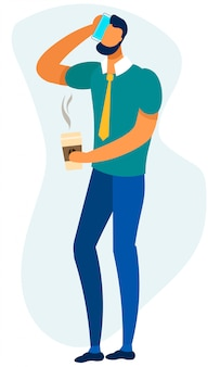 男はコーヒーブレークの漫画の間にビジネスコールを持っています