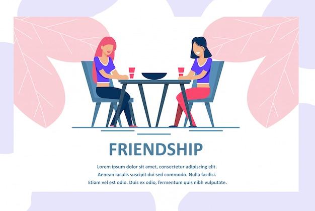 女性の友情広告レタリングバナー