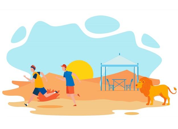 Туристы, бегущие от льва векторная иллюстрация