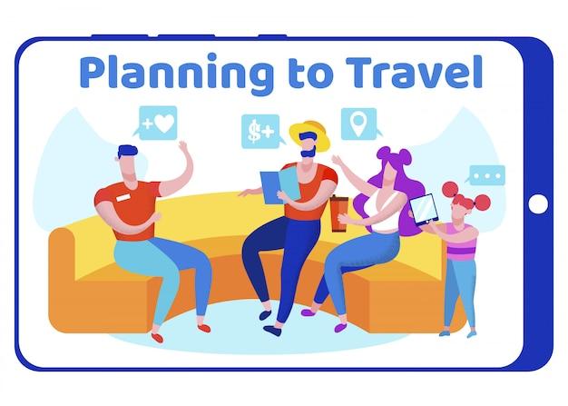 将来の旅行について議論する子供と友達のグループ