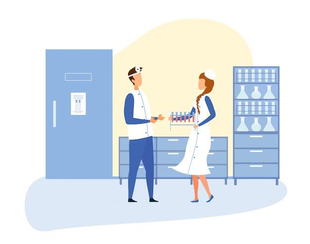 科学実験室のインテリアと医療スタッフ