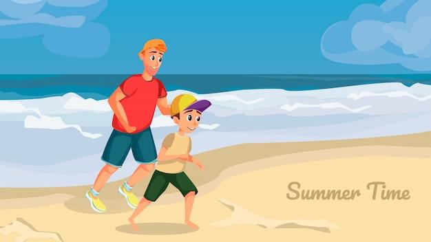 サマータイムバナー。漫画男の少年がビーチで遊ぶ