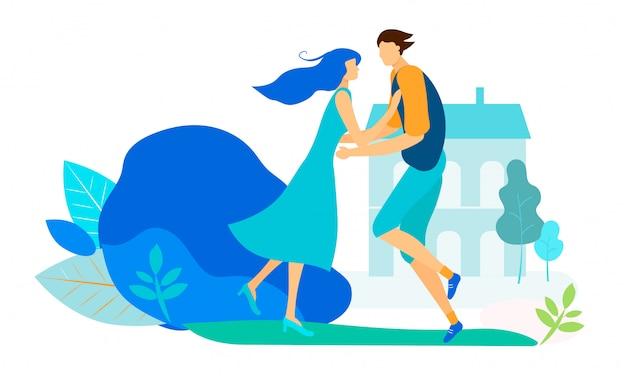 Встреча молодых влюбленных в городской парк или двор.