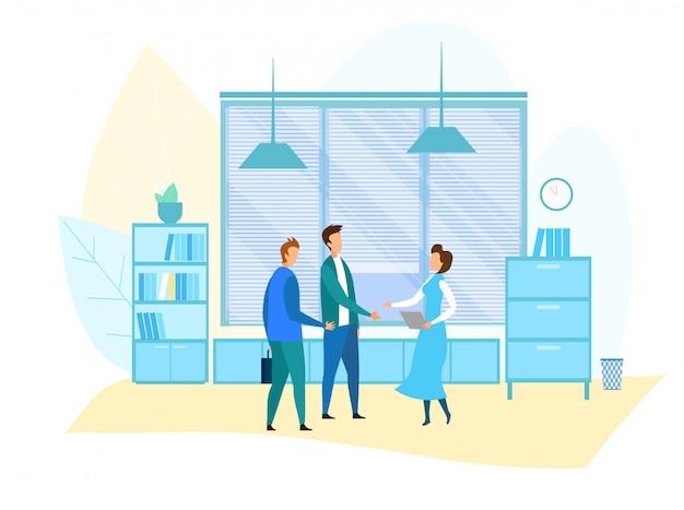 オフィスミーティングとビジネス状況の図