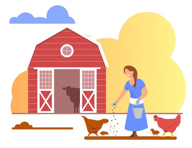 Молодая женщина в халате кормления курицы. птицеферма