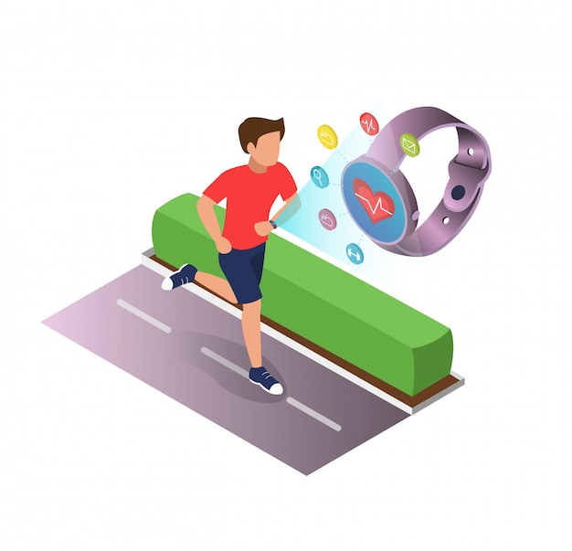 健康漫画フラットのポスタースポーツ機器。